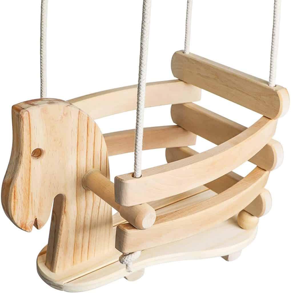 Ecotribe Wooden Horse Toddler Swing Set – Baby Swing Outdoor & Indoor