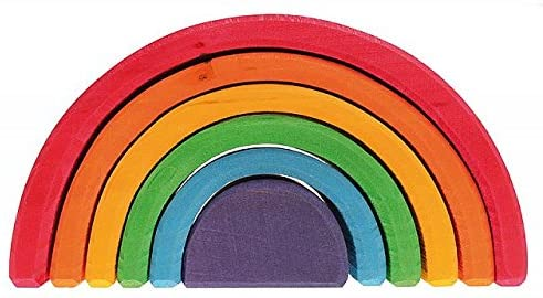 Open-Ended Play ,Grimm's 6-Piece Rainbow Stacker