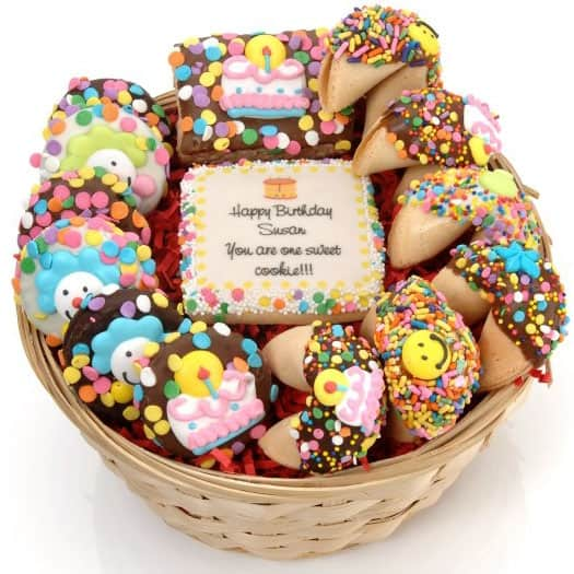 A cookie gift basket with a personalized cookie