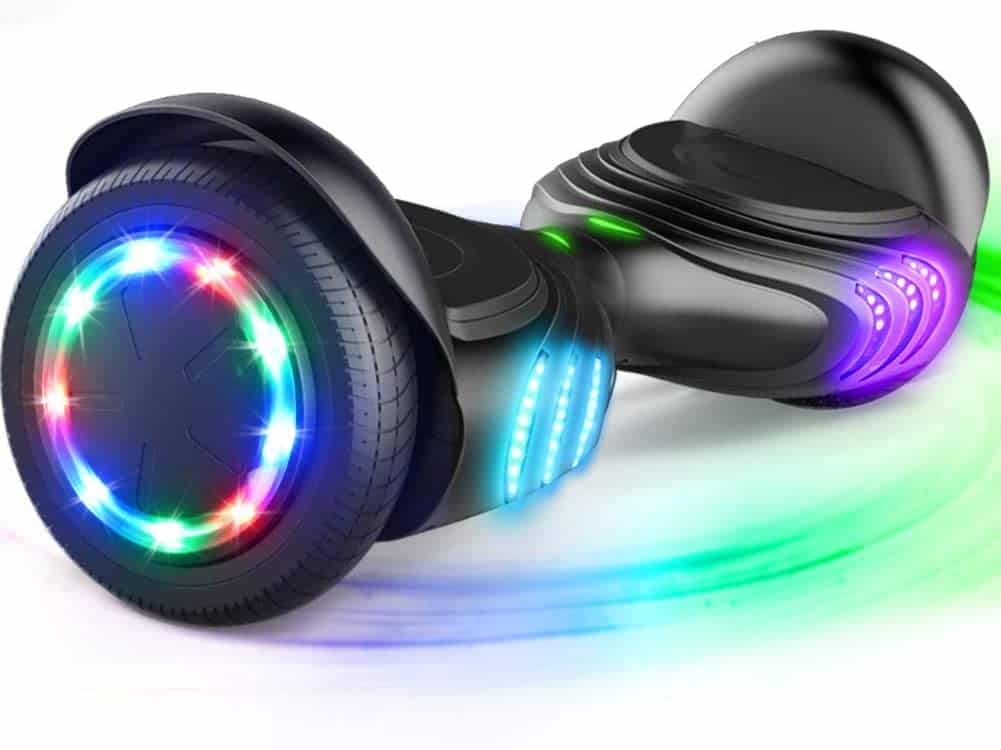 A hoverboard with lights and Bluetooth speaker