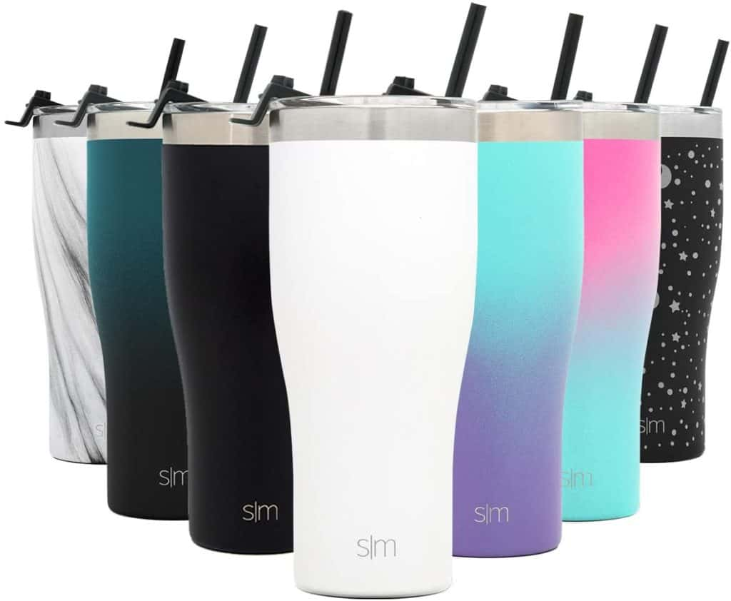 A slim travel tumbler with a straw