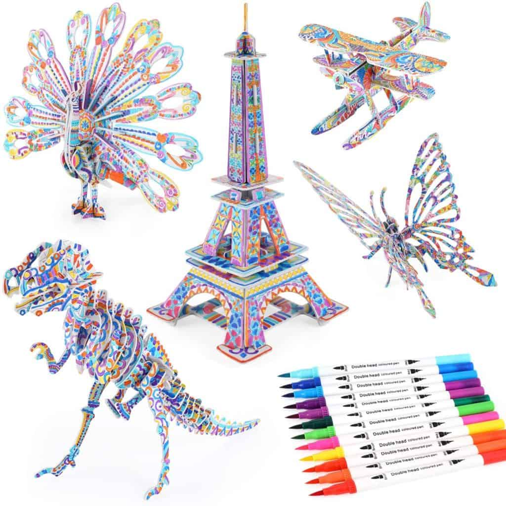 BEARUN 3D coloring puzzle set