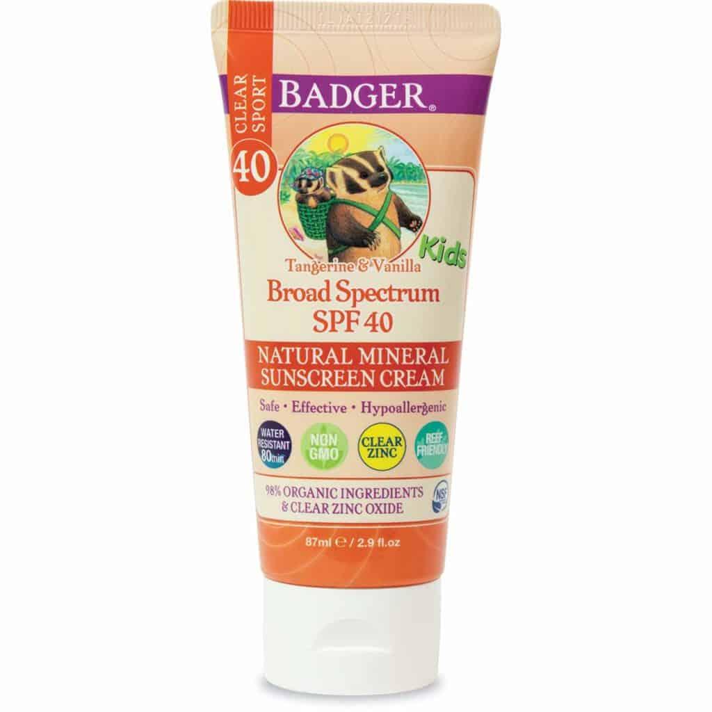 Badger Active kids sunscreen cream