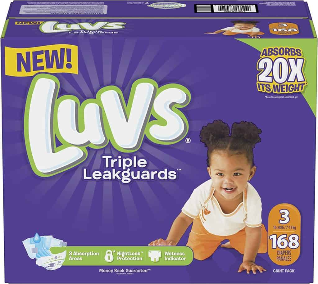 Extra absorbent Luvs triple leak guard diapers
