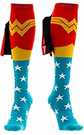 Funny Wonder Woman Knee High Shiny Cape Socks Parenthoodbliss