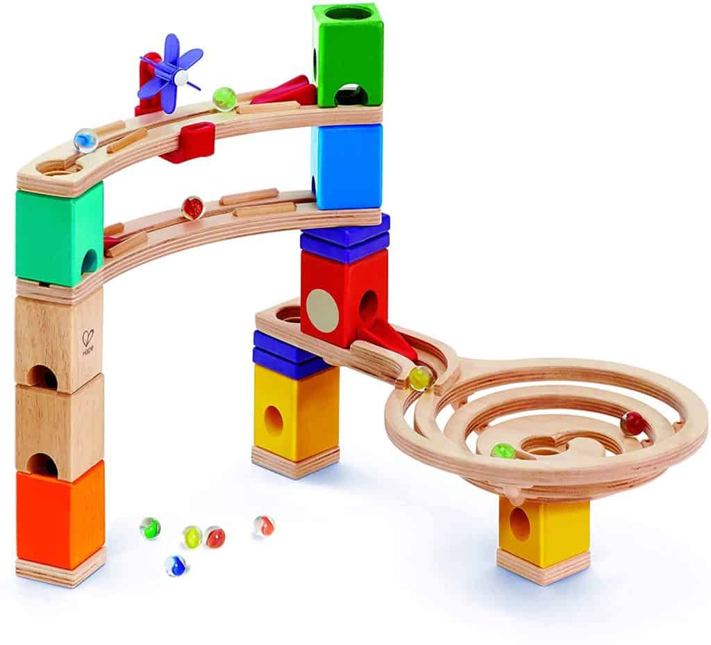 To play is to learn Hape Quadrilla Race to The Finish Marble Run Blocks, Multicolor