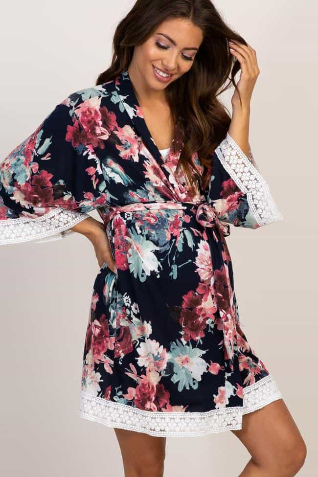 PinkBlush Floral Maternity Robes Labor And Delivery Gown