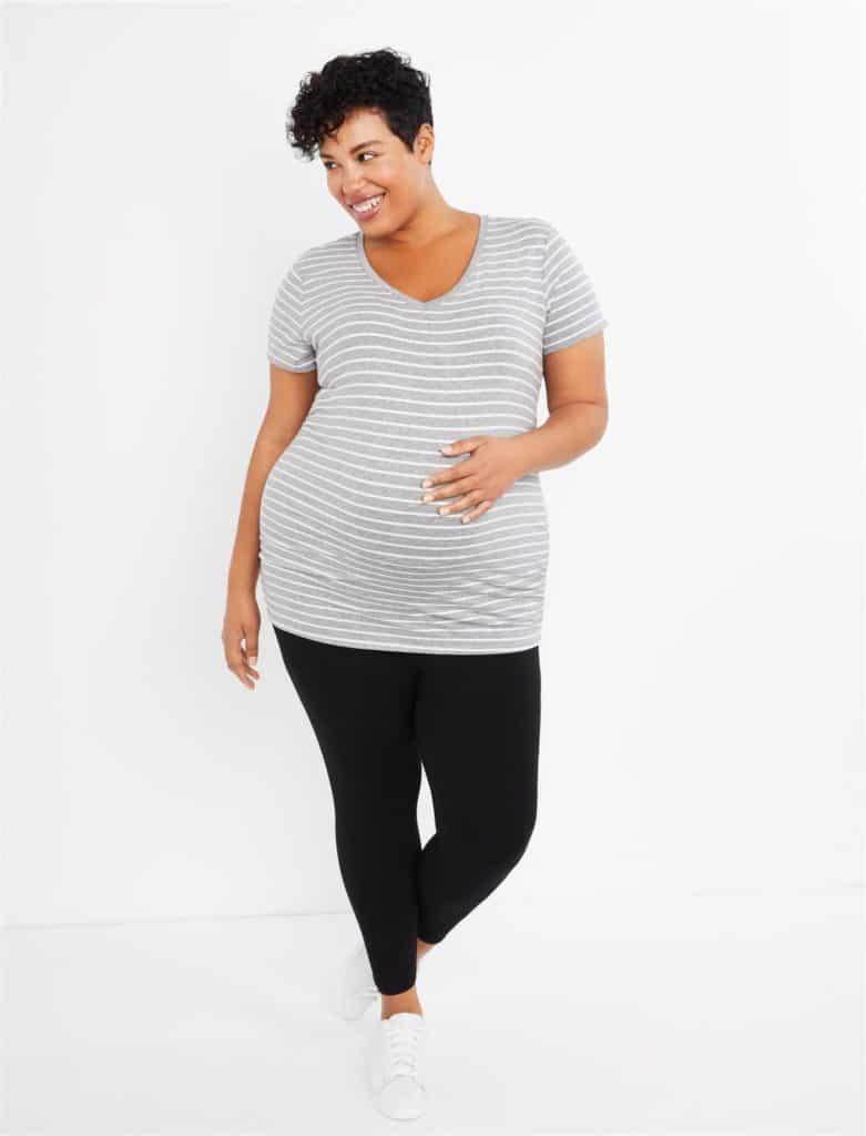 Plus Size Under Belly Smocked Waist Ankle Maternity Leggings