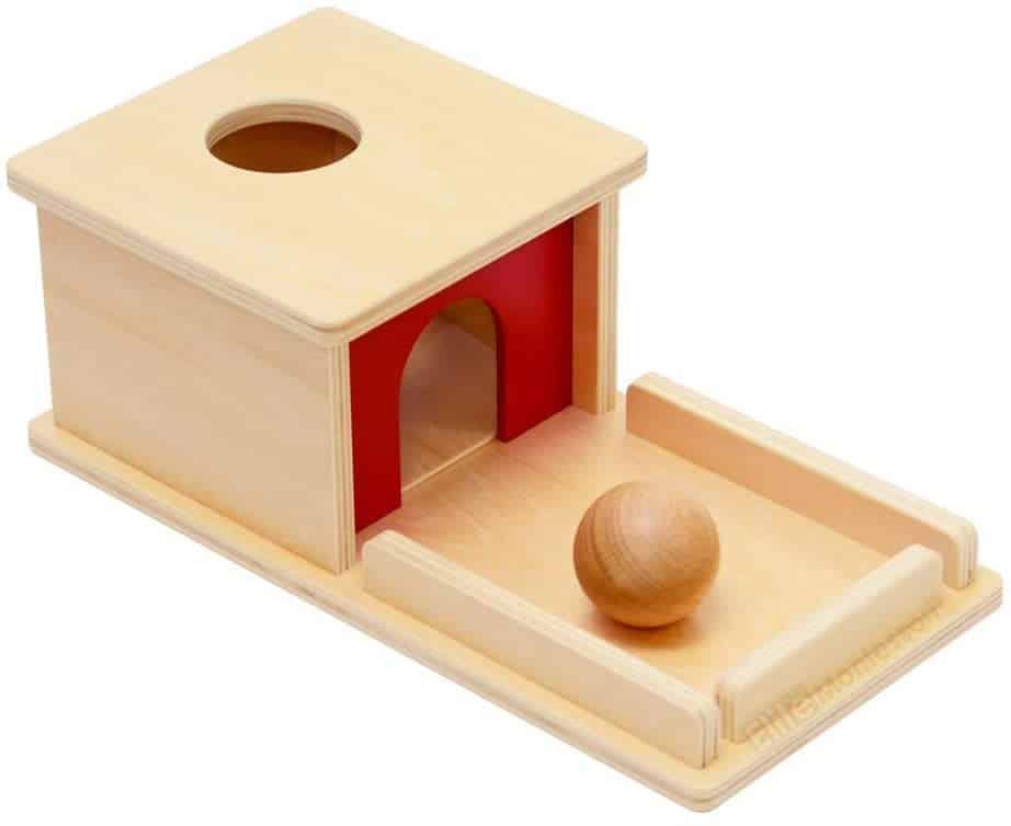 Best Wooden Montessori Toy for Infants Elite Montessori Object Permanence Box with Tray and Ball