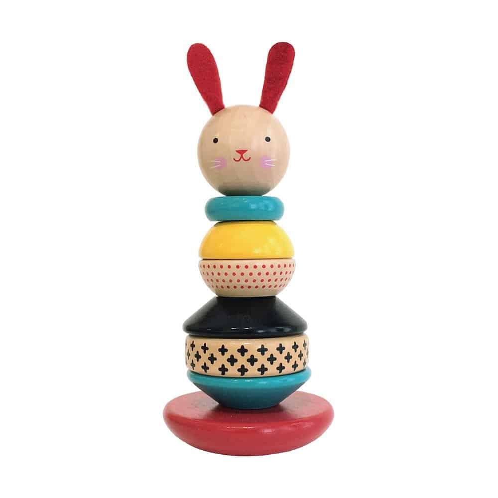 Petit Collage Rabbit Wood Stacking Toy