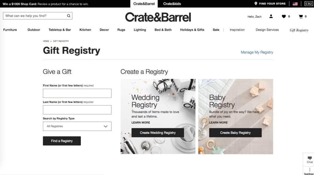 Crate & Kids baby Registry