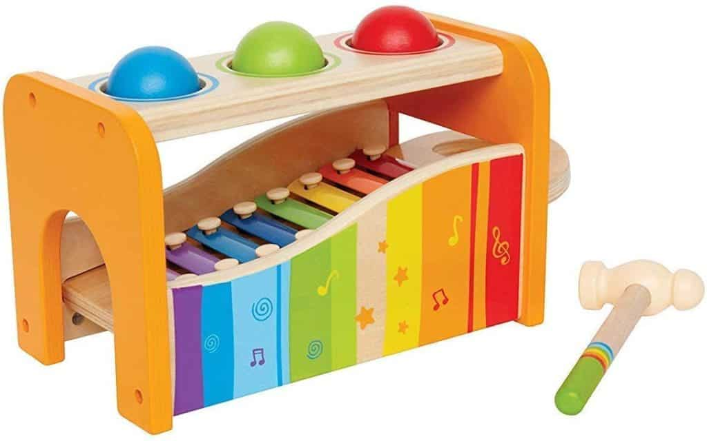 Hape pound and tap bench musical toy for babies