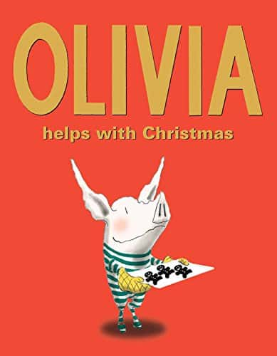 Olivia helps with the Christmas book