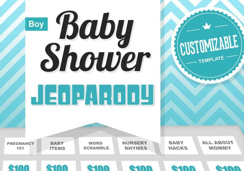 Virtual Baby Shower game Jeopardy template