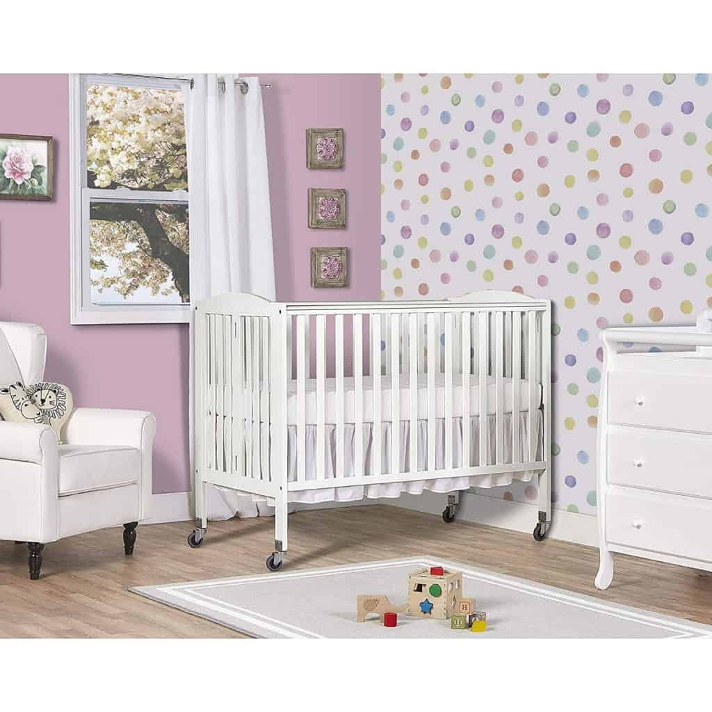 Dream On Me Folding Crib on Wheels- Best Cribs For Babies