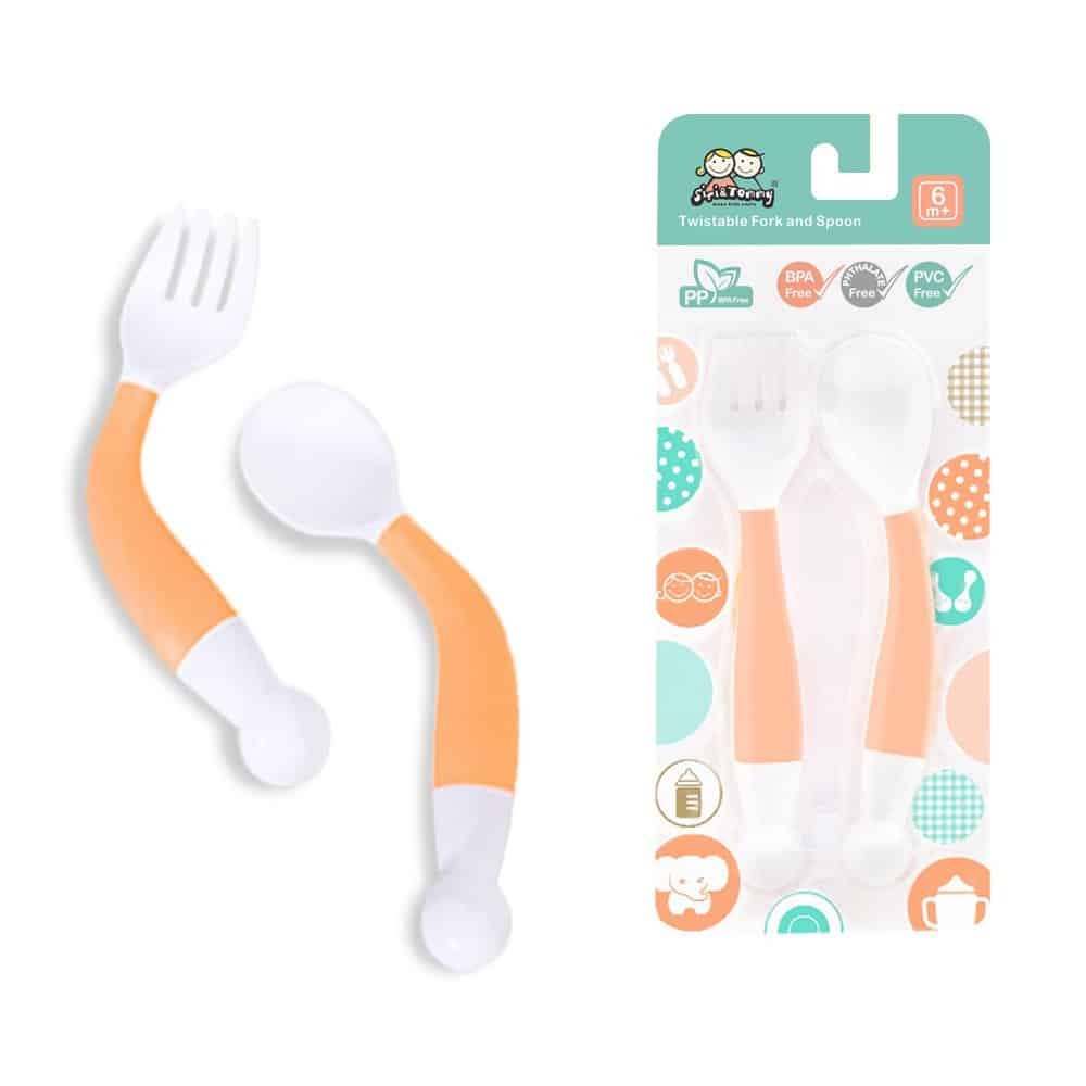 Effort Kids Curved Handle Training Baby Spoon and Fork Set