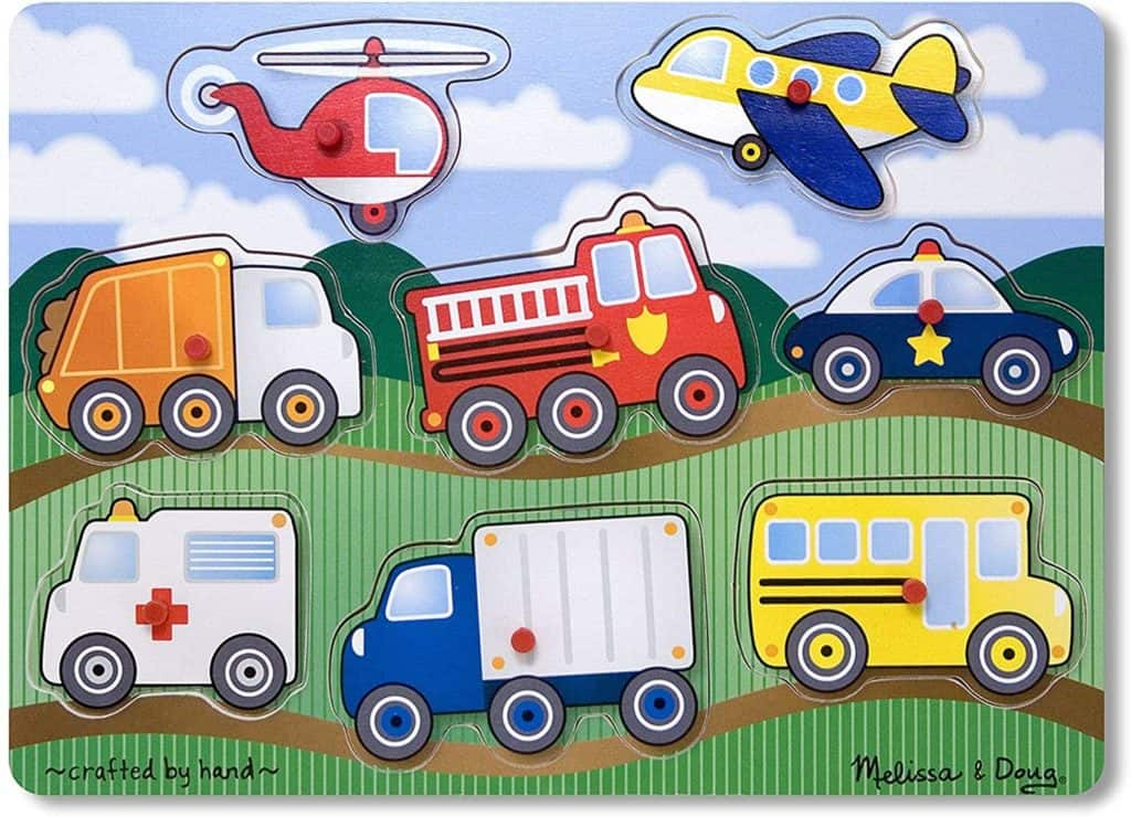 Melissa & Doug vehicles peg puzzle