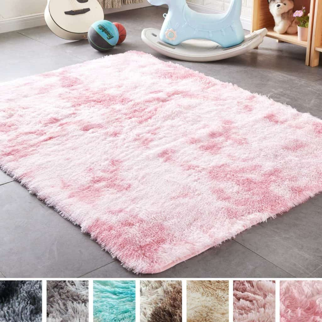 PAGISOFE Shaggy fluffy colored rug