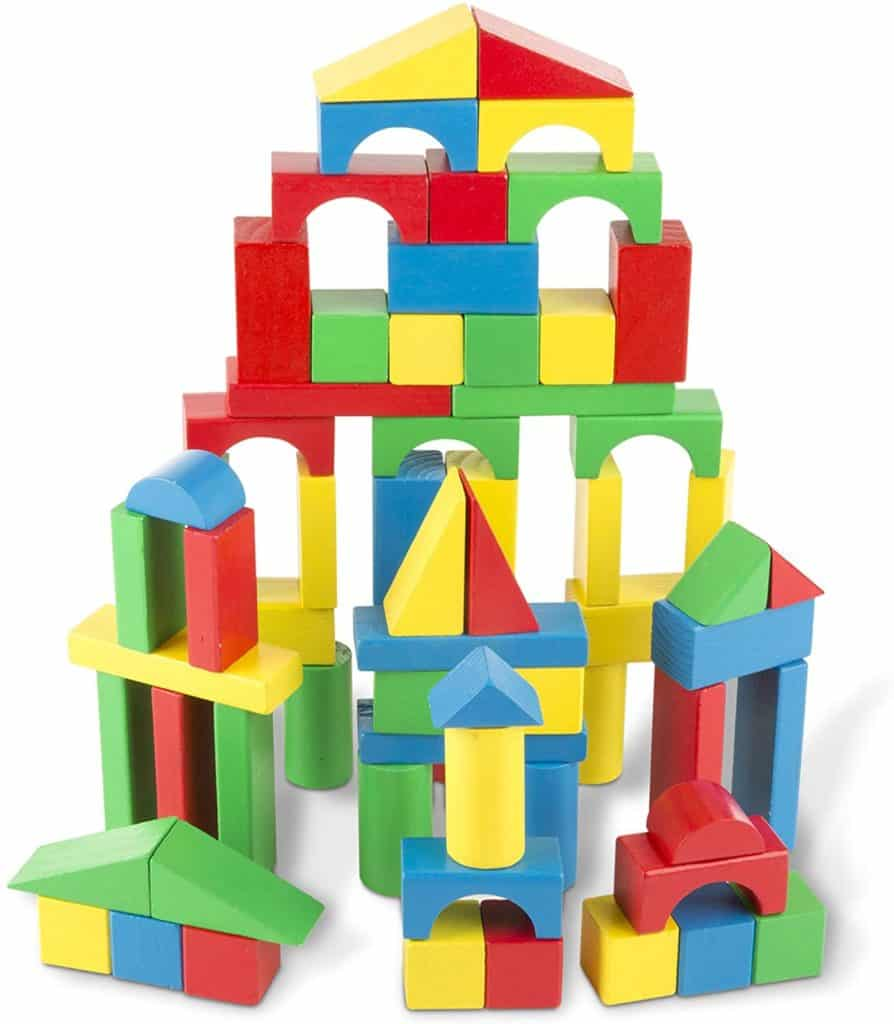 Melissa and Doug Wooden 100 Piece Wood Blocks Set