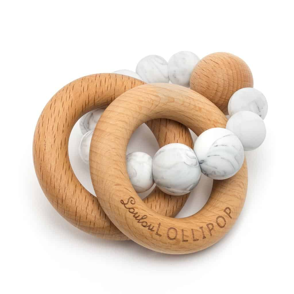 Teether - Loulou Lollipop Bubble Wood & Silicone Teething Rattle, $25.00 - Best Montessori Toys